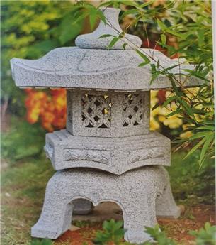 Lanterne japonaise Rokkaku Yukiki granit Ht 20 cm