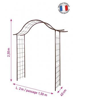 Arche décor treillage larg.150 Prof. 40 Ht 250 cm fer vieilli