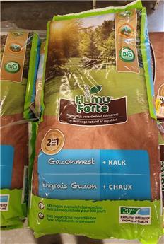 HumuForte Engrais gazon 20 kg + Chaux BIO