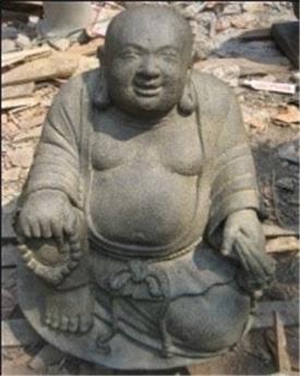Bouddha Chinois gros assis bassanite Ht 51 cm