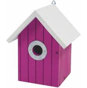 Nichoir toit blanc maison rose fuchsia