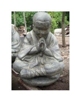 Moine bouddhiste assis en prière Ht 47 cm (REF-SEATED-monk)