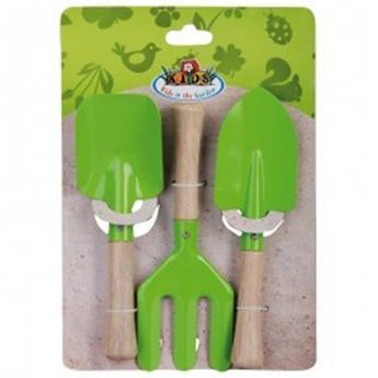 Set d´outils verts jardinage enfant 3 pc