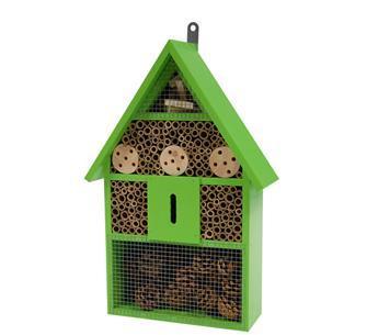 Hôtel insectes bois vert clair Ht 41 cm