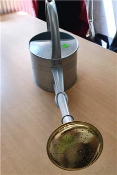 Arrosoir galvanise 0.45 mm 3 litres avec pomme métallique cuivrée