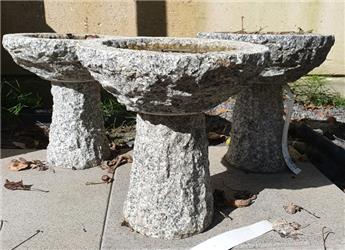 Bain oiseaux rond sur pied granit Diam 25 Ht 25cm